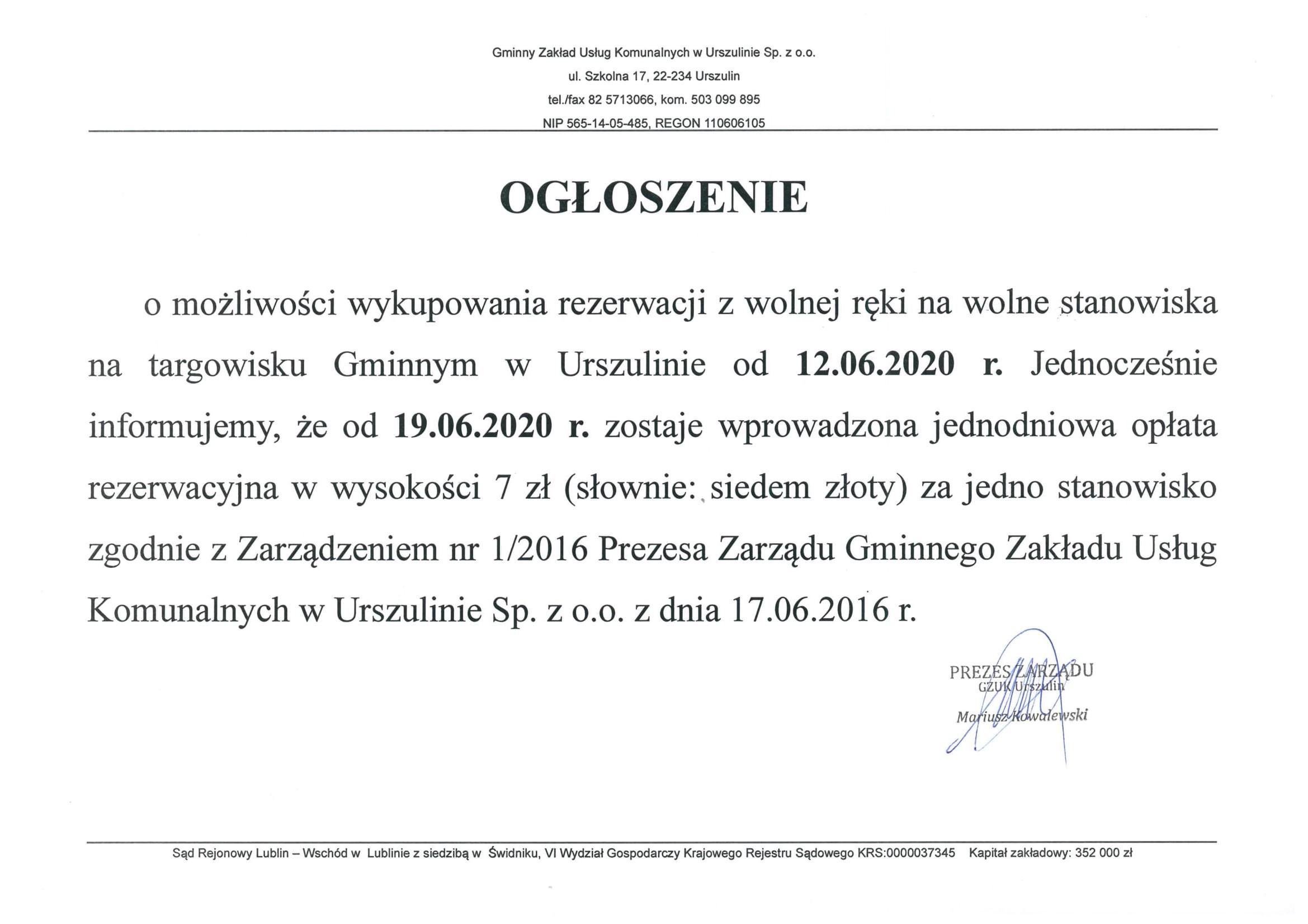 Ogłoszenie - wolne stanowiska na targowisku gminnym